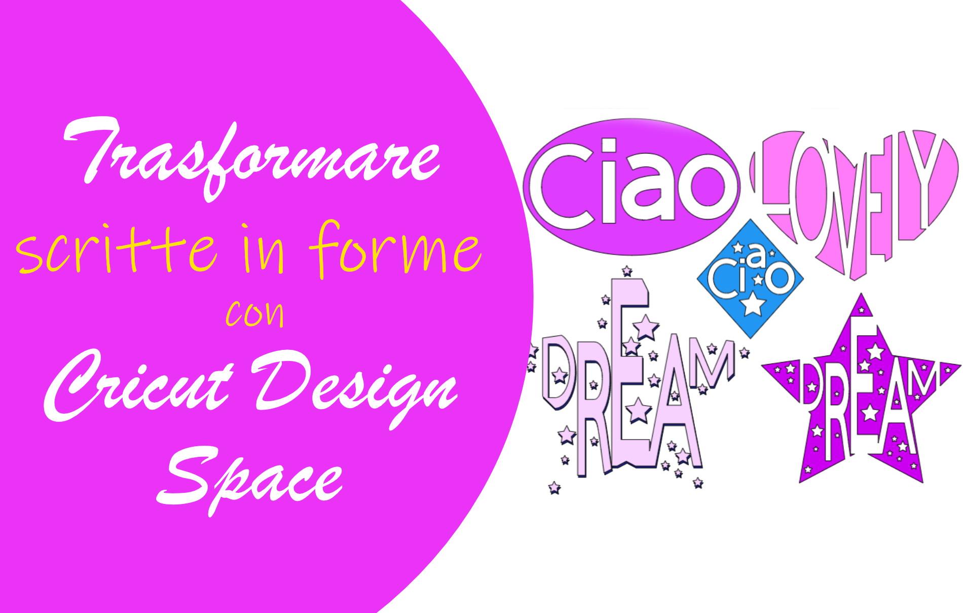 Trasformare parole in forme Cricut Design Space